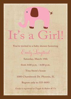 baby girl shower invitations, pink elephant, digital, printable file (item 1312b)