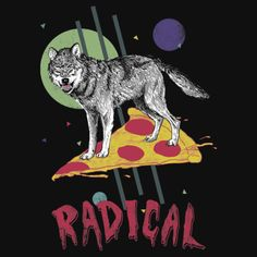 Four eyed wolf riding a pizza slice t-shirt.
