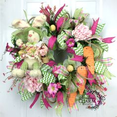 Deco Mesh Easter Bunny Wreath - Carrots - Pink - Lime - Peony by www.southerncharmwreaths.com #bunny #wreath #carrots