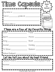 School Year Time Capsule Printables More than 100 quote requests and announcements for the anniversa End Of School Year, Beginning Of School, School Fun, School Days, School Stuff, Time Capsule School, Time Capsule Kids, Back To School Activities, September Activities
