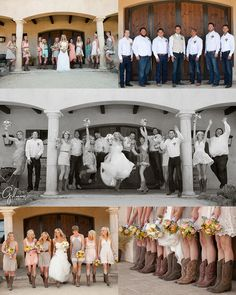 J + J's Country Themed Ranch Wedding ~Newport Beach Wedding, Newborn, and Family Portrait Photographers in Orange County, Short Bridesmaid Dresses, Different Styles, Outfits, Fashion, Ideas, Cute, Creative, Cowgirl and Cowboy Boots, Groomsmen, White Long Sleeve Shirt, Blue Jeans, Color Theme, Browns, Beige, Peach, GilmoreStudios.com