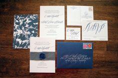 Cassie + Ariel's Navy and White Calligraphy Letterpress Wedding Invitations | Parrott Design Studio | Calligraphy: Betsy Dunlap