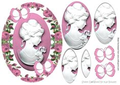 Pretty cameo lady in pink roses pyramids with butterflies, can be seen in other designs and colours
