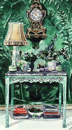 Green Chinoiserie Room Interior Giclee of by LauraRowStudio