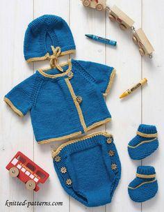 Baby boy's Newborn layette# Free pattern link here Baby Knitting Patterns, Love Knitting, Baby Boy Knitting, Knitting For Kids, Vintage Knitting, Baby Patterns, Baby Knits, Newborn Crochet, Crochet Baby