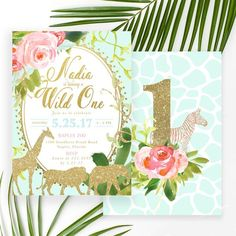 The Nadia invitation is cutest, classiest glam Safari or Jungle themed Birthday Party invite ever! Perfect for little girl's first birthday or any age. Featuring pretty gold modern calligraphy lettering, tropical leaves and florals and safari animals on a pretty mint green background. Add the age to the back, a full-sized photo or any text you like. Pair with our gold-foil lined envelopes for a complete look.