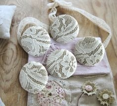 lace-covered buttons