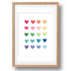 A gorgeous whimsical rainbow of watercolour hearts printable.  If youd prefer not to do the printing, this print is also available as an 11x14