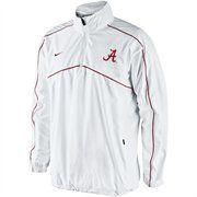 Nike Alabama Crimson Tide Woven Coaches Quarter Zip Pullover Jacket - White