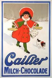 Vintage Maison Cailler milk chocolate ad girl with red cape and muff