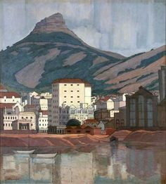 Pierneef - Cape Town and Lions Head Mountain Picasso, African Paintings, South African Artists, Objet D'art, Mountain Landscape, Illustration Art, Illustrations, Impressionism, Landscape Paintings