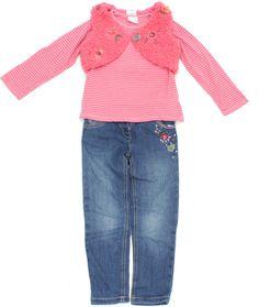 Schicke Mädchen-Kombination von #Next in Gr. 110 bestehend aus #Kinderjeans, #Langarmshirt und Weste aus #Teddyplüsch.
