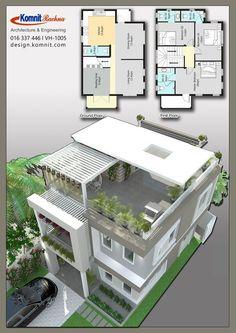 Discover thousands of images about VH 1005 Komnit Rachna Houses - Komnit Design 2 Storey House Design, Duplex House Plans, Bungalow House Design, House Front Design, Bedroom House Plans, Small House Design, Dream House Plans, Small House Plans, Modern House Design