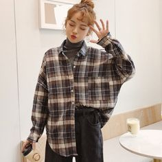 Korean-style check cotton long sleeve casual shirt- can find Korean fashion and more on our website. Mode Outfits, Retro Outfits, Fall Outfits, Vintage Outfits, Fashion Outfits, Fashion Fall, Fashion Men, Flannel Outfits, Casual Korean Outfits