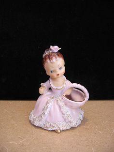 Vintage Ucagco Japan Ceramics Girl in Pink Dress with Spaghetti Trim Figurine | #1732342356