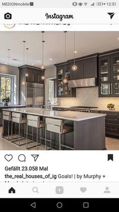 Grey Kitchen Designs, Kitchen Sink Design, Modern Kitchen Design, Home Decor Kitchen, Kitchen Interior, Kitchen Ideas, Stained Kitchen Cabinets, White Shaker Kitchen, Grey Cabinets