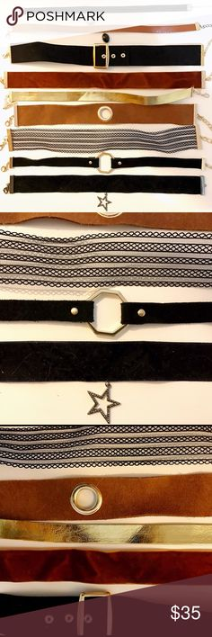 9 chokers ZARA, TOP SHOP, other brands I'm a fashion blogger 🙋🏼 I have too many clothes and jewelry! You are getting 9 chokers from the pix plus a few surprises 😏 Not selling separately. No trade. Good luck! Check out my other posts for crazy deals! Jewelry Necklaces