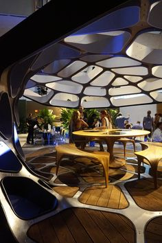 presented at design miami/ 2015, zaha hadid's contribution to the 'revolution' series is a contemporary dining pavilion named 'volu'.