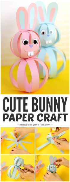 Cute and Simple Paper Bunny Craft for Kids to Make - perfect idea for Easter cra. - Art Ideas - Cute and Simple Paper Bunny Craft for Kids to Make – perfect idea for Easter crafting - Rabbit Crafts, Bunny Crafts, Cute Crafts, Basket Crafts, Creative Crafts, Easy Crafts, Diy And Crafts, Crafts For Kids To Make, Kids Crafts