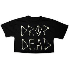 Crop Top 90s Drop Dead Bones Graphic Tshirt Grunge Kawaii Style ($27) found on Polyvore