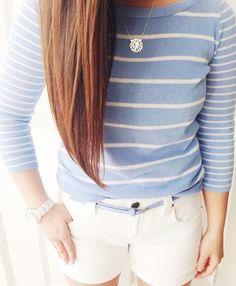 Chambray striped top and white shorts. Great for spring/summer fashion.