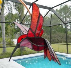 Stained Glass Fusing | Stained Glass Suncatcher 3D Hummingbird and Fused Glass Flowers Custom ...