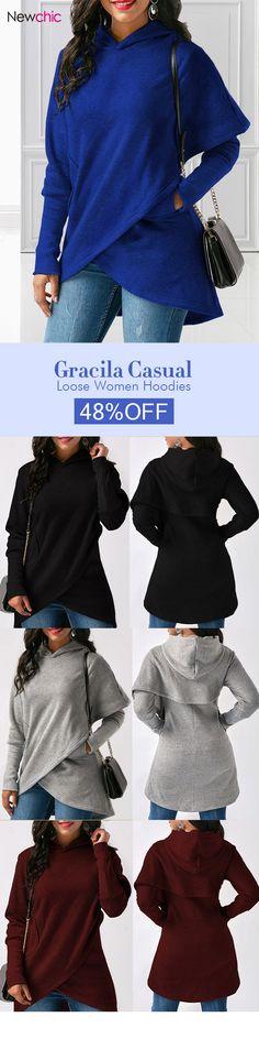 [Newchic Online Shopping] 48%OFF Gracila Casual Loose Women Hoodies