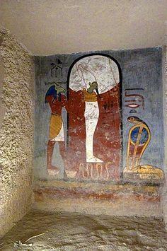 Mural painting, God Osiris, God Nesert, tomb of Ramses I, tomb number KV 16, grave, Valley of Kings, West-Thebes, Luxor, Egypt