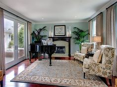 Living Room:Rugs Ideas For Living Room Decor For Stunning Interior! Rugs Ideas For Traditional Living Room Design Piano Living Rooms, Piano Room, Living Room Area Rugs, Formal Living Rooms, Room Rugs, Living Room Furniture, Living Room Decor, Family Room Curtains, Palladian Blue
