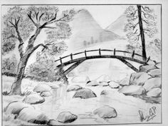 Easy Pencil Sketches Of Nature Easy pencil drawings nature - Drawing Scenery Drawing Pencil, Pond Drawing, Pencil Sketches Landscape, Landscape Drawing Easy, Pencil Drawings Of Nature, Pencil Sketch Drawing, Pencil Painting, Drawing Eyes, Sketch Painting