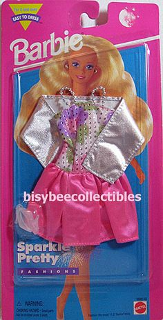 ~1995 Barbie Fashion SPARKLE PRETTY Pink Silver Dress Speckled Pumps 68060-93 #Mattel #DollClothingAccessories