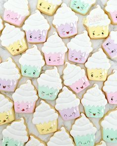 Kawaii cupcake cookies for a recent fundraiser 💗 Cupcake Icing, Cupcake Cookies, Cupcakes, Sugar Cookies, Kawaii Cookies, Sweet Cookies, Valentine Cookies, Birthday Cookies, Cute Baking