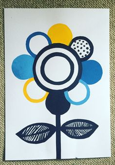 Gorgeous multi colour screenprint featuring a decorative flower. This print is A3 size and comes framed in a wooden Scandinavian frame.…