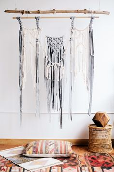 """A play on texture, this wall hanging is a true beauty. Incorporating soft Pendleton wool into the design, this wall hanging would be perfect over a bed or sofa. 48"""" wide x 62"""" long"""