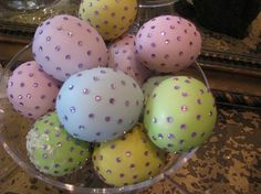 Pastel Easter eggs embellished with pink crystals ...very easy DIY.
