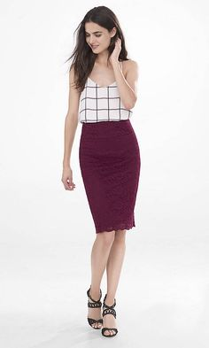 Let this lace pencil skirt show off your shape. Feel free to amp up its flirty possibilities with a skin-baring crop top or a Barcelona cami.