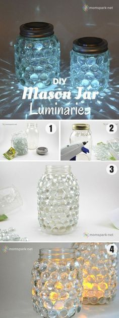 For this project you will need: glass gems hot glue gun mason jars tea light can. - For this project you will need: glass gems hot glue gun mason jars tea light candles or battery ope - Pot Mason Diy, Mason Jar Gifts, Glue Gun Crafts, Jar Crafts, Diy Glue, Decor Crafts, Kids Crafts, Diys, Mason Jar Projects