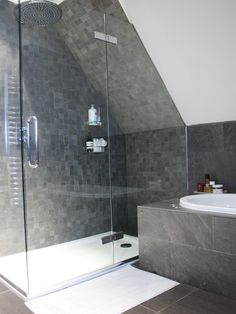 Tiling Your Bathroom such This Beautiful Bathroom Gallery : Charming Tiling Your Bathroom With Glass Wall Shower Room Gray Wall Tiles White Bathtub