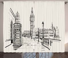 Modern Curtains by Ambesonne London City with Big Ben Monument Scene in Sketch Style British Famous Town Artwork Living Room Bedroom Window Drapes 2 Panel Set 108W X 63L Inches Grey Cream ** Check out this great product-affiliate link.