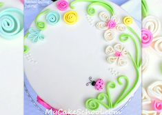 In this free cake tutorial, learn this simple fondant quilling technique for beautiful cakes! My Cake School online cake classes and recipes!