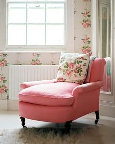 Such a terrifically pretty pink, white and green corner. #chair #seating #pink #floral #feminine #girl #shabby #chic #home #decor