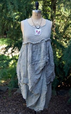 Image of Magnolia Pearl Light Weight Linen Lilith Tank Dress with Sewn-In Tucks