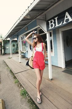 coral overalls
