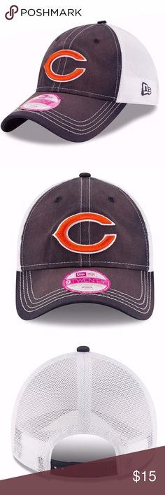 Chicago Bears Women's New Era 9TWENTY Trucker Cap Brand New Officially Licensed with tags. The Chicago Bears women's Spirited Lightly Structured 9TWENTY NFL Cap by New Era features: - 100% cotton front panels - 85% polyester, 15% spandex visor and white mesh back - Low rise lightly structured - Team Logo with raised embroidery on front - Slight tears in fabric to give it that worn look - The six panel construction features breathable eyelets with a curved visor - Adjustable plastic tab…