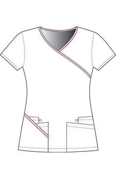 The unique design of this Urbane Sport scrub top is fresh and slimming! The contrast trim at the neckline and right-hand pocket emphasize its wraparound styling, with the neckline trim continuing a. Dental Uniforms, Work Uniforms, Scrubs Outfit, Scrubs Uniform, Scrubs Pattern, Uniform Clothes, Underwear Pattern, Lab Coats, Medical Scrubs