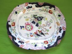 Antique Chinoiserie Bird Transferware Ironstone Polychrome Large Platter