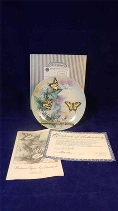 1988 W.S George Lena Liu Western Tiger Swallowtails Butterflies Gossamer Plate Electric / $32 inc shipping