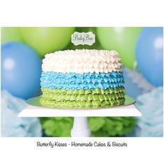 Green, blue and white frill - cake smash cake