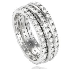 Journee Collection Sterling Silver Round-cut Cubic Zirconia 3-piece Eternity Band Set (2 mm) - Overstock Shopping - Big Discounts on Journee Collection Cubic Zirconia Rings