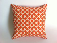 One Mod Orange Trellis Decorative Throw Pillow Cover by Pillomatic, $17.00
